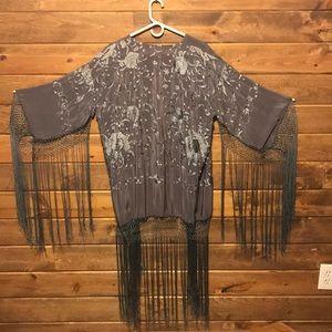 Grey fringe kimono jacket...Boho Flapper Gypsy YES